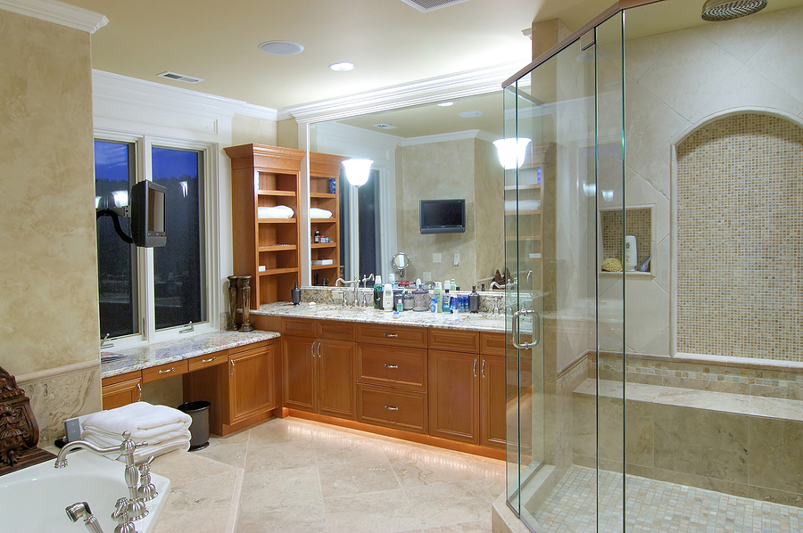 clean bathroom with wood cabinets